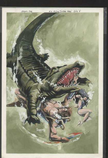 Original Cover Art - Six Million Dollar Man - Alligator - Attacking People - Man And Woman - Clash In Water - Fighting