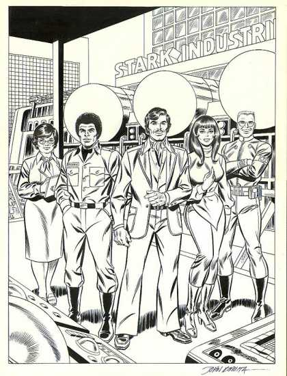 Original Cover Art - Stark Industries Huge Poster Art (1970s) - Factory - Black And White - Computer - Crewcut - Afro
