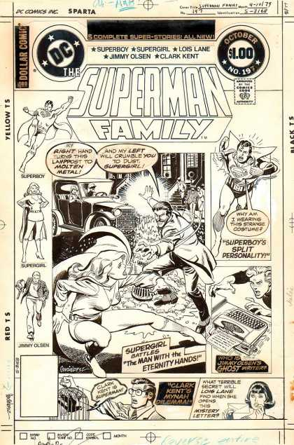 Original Cover Art - Superman Family #197 Cover (1979) - Typewriter - Supergirl - Jimmy - Superboy - Lois