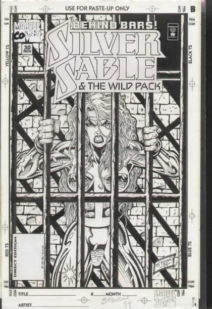 Original Cover Art - Silver Sable and the Wild Pack - Marvel Comics - Behind Bars - Silver Sable U0026 The Wild Pack - Steven 94 - Paste-up Only