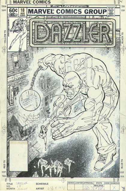 Original Cover Art - Dazzler 18 COVER - Marvel Comics Group - Approved By The Comics Code Authority - Dazzler - Yellow Ts - Black Ts