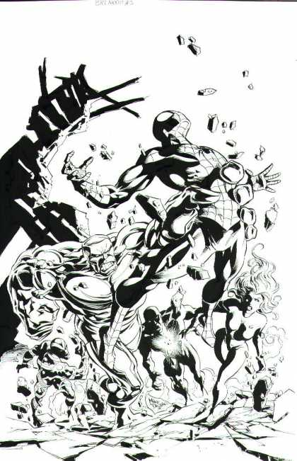 Original Cover Art - Spider-Man: Breakout #3 Cover (2005) - Black And White - Spiderman - Flash - Rocks - Hulk