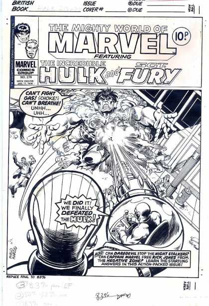 Original Cover Art - Mighty World of Marvel - Marvel Comics - Incredible Hulk - Sgt Fury - Blast - Black And White