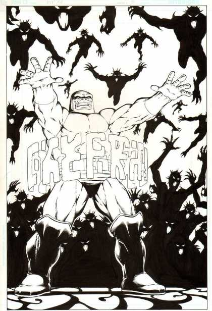 Original Cover Art - Death of the New Gods #3 cover (2007) - Black And White - Black Demons - White Hero - Russian Comic - Awesome Comic Cover