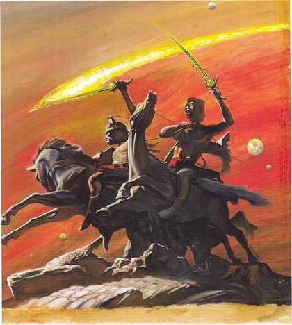 Original Cover Art - CONAN-LIKE BOOK COVER PAINTING - Horse - Swords - Planets - Red Sky - Rocks