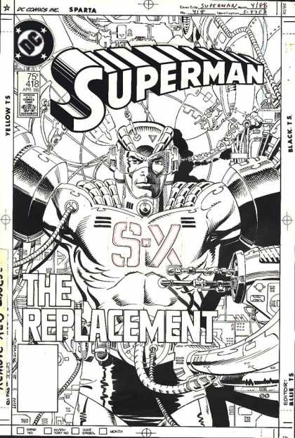 Original Cover Art - Superman - Superman - The Replacement - S-x - Robot - Machine