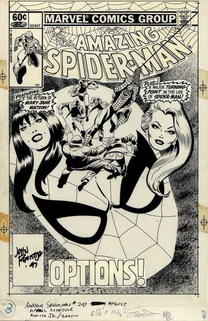 Original Cover Art - Amazing Spiderman #243 Cover (1983) - Marvel Comics Group - Approved By The Comics Code - Super-hero - Woman - Web