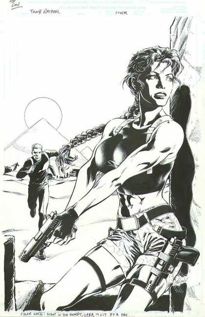 Original Cover Art - Tomb Raider: Epiphany - Toned And Fit Female Physique - Guns And Weapons - Man Running - Watching And Alert For Any Enemy - Outdoors Under The Hot Sun