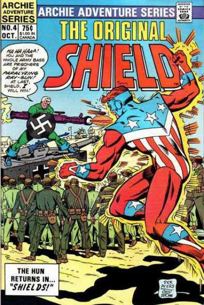 Original Shield 4 - Ray-gun - Hun - Prisoners - Swastika - Army Base - Charles Stone, Dick Ayers