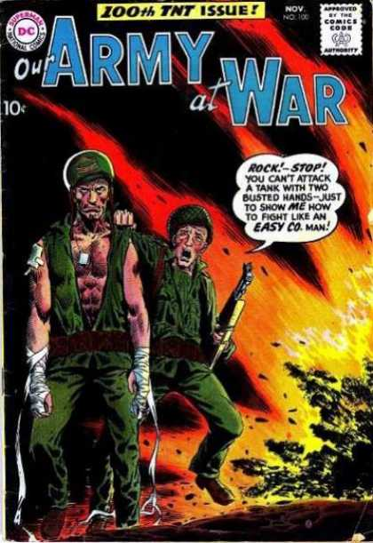 Our Army at War 100 - Soldiers - Injured Hands - Bandages - Explosion - Tanks - Joe Kubert