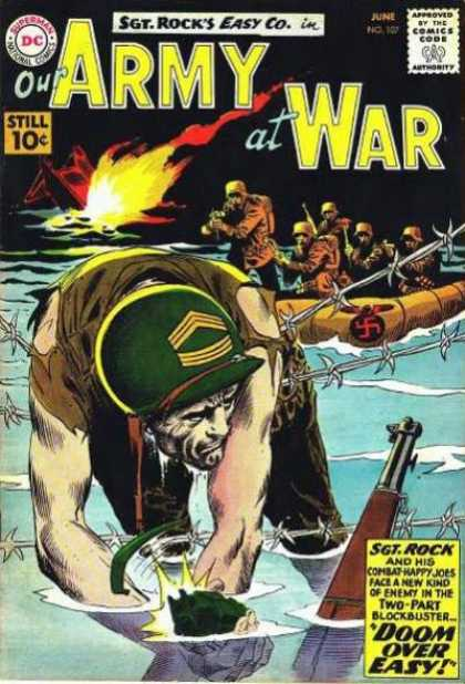Our Army at War 107 - Barbed Wire - Brave Man - Countrys Proud - Hitlers Army - Tow Part Blockbaster - Joe Kubert