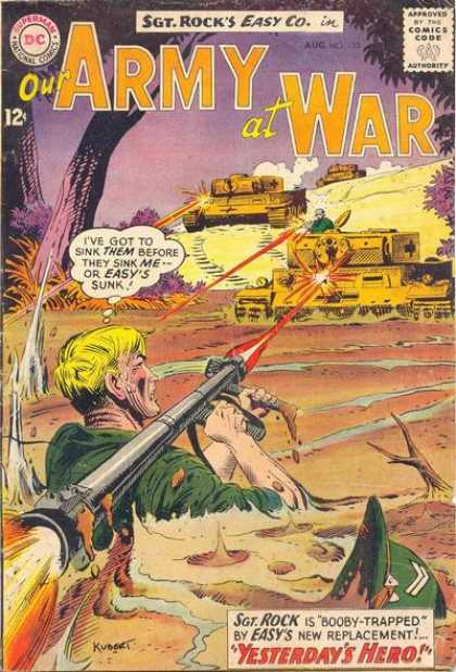 Our Army at War 133 - Sgt Rock - Yesterdays Hero - Booby Trapped - Army Tanks - Replacement - Joe Kubert
