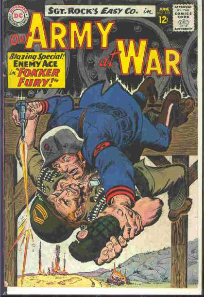 Our Army at War 155 - Gernade - Blazing Special - 12u00a2 - Pistol - Sgt Rocks Easy Co - Joe Kubert