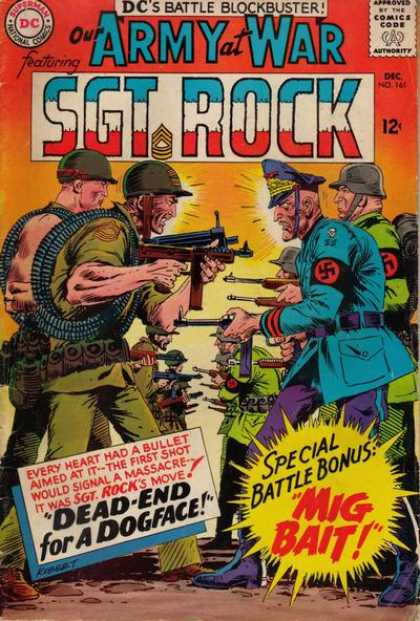 Our Army at War 161 - Sgt Rock - Machine Guns - Nazi - Wwii - Dead-end For A Dogface - Joe Kubert