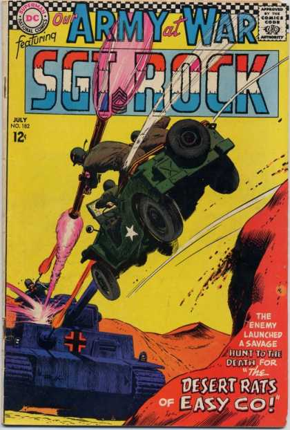 Our Army at War 182 - Jeep - Tank - Sgt Rock - Red - White - Joe Kubert