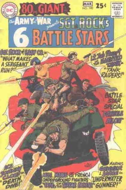 Our Army at War 190 - Giant - 6 Battle Stars - What Makes A Sergeant Run - Tank Raiders - Underwater Gunner - Joe Kubert