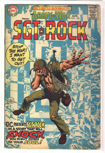 Our Army at War 196 - Sgt Rock - Soul - Soldier - Machine Gun - Distress - Joe Kubert