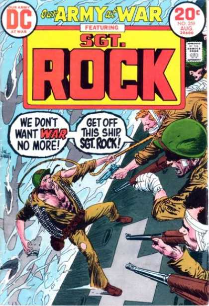Our Army at War 259 - Ship - Sgt Rock - Water - Guns - Wounded - Joe Kubert