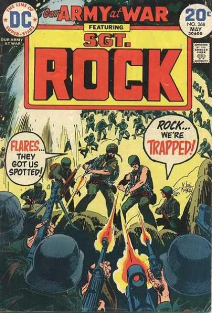 Our Army at War 268 - Sgt Rock - Trapped - Flares - Spotted - Army Helmets - Joe Kubert