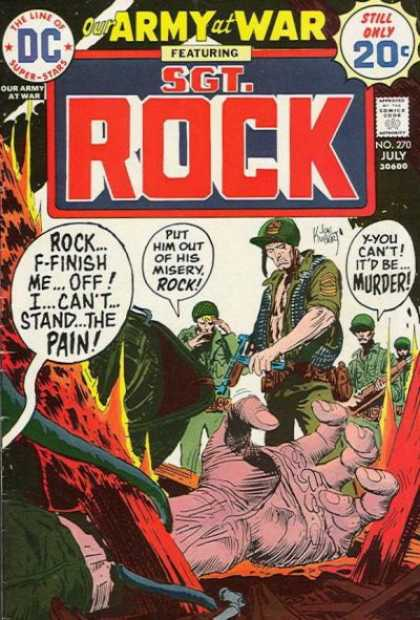 Our Army at War 270 - Rock - Still Only 20 Cents - The Line Of Dc Super-stars - No 270 July - Guns - Joe Kubert