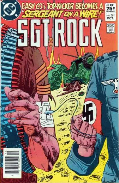 Our Army at War 381 - Sergeant On A Wire - Sgt Rock - No 381 Oct - Nazi Sign - Demolised Tanks