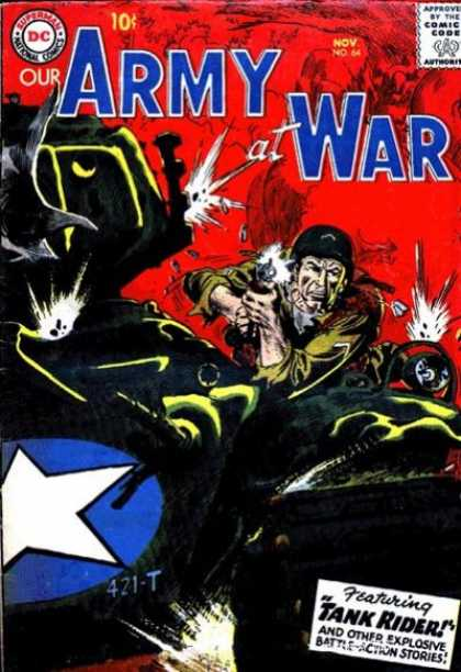 Our Army at War 64 - Tank Rider - Gunfire - Helmet - White Star Emblem - Guns - Joe Kubert