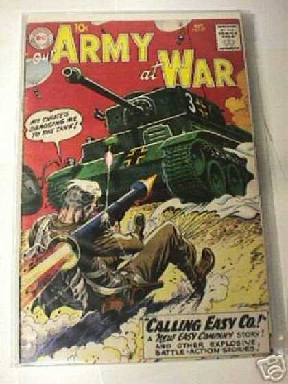 Our Army at War 87 - Battle Action Comic Book - Vintage Army Comic - Easy Company Army Stories - Wwii Tank Warfare Comic - Chute Dragging Soldier Into Tank