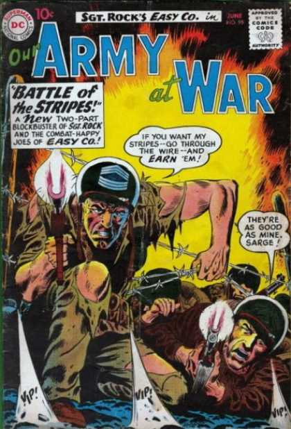 Our Army at War 95 - Battle Of The Stripes - Barb Wire - Gunfire - Crawling - Battle - Joe Kubert