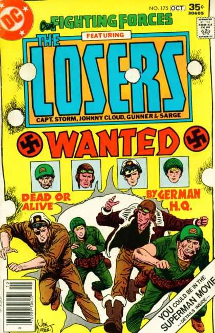 Our Fighting Forces 175 - Featuring The Losers - Swastikas - Wanted Dead Or Alive - By German Hq - Superman Movie - Joe Kubert