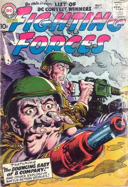Our Fighting Forces 21 - Superman - National Comics - Approved By The Comics Code Authority - Gun - The Bouncing Baby Of B Company - Joe Kubert