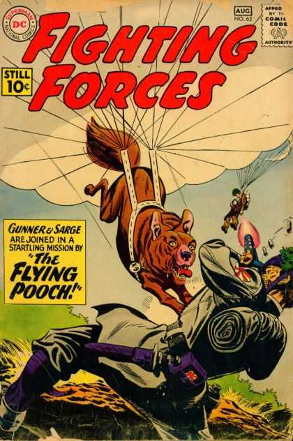 Our Fighting Forces 62 - Dc - Parachute - The Flying Pooch - Gunner U0026 Sarge - Dog