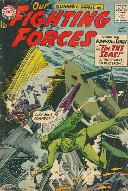 Our Fighting Forces 76 - Superman - Gunner U0026 Sarge - Approved By Comics Code - Submarine - Torpedo - Joe Kubert