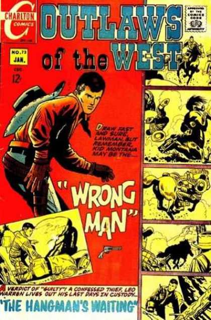 Outlaws of the West 73 - Charlton Comics - Cowboy - Gun - Wrong Man - The Hangmans Waiting