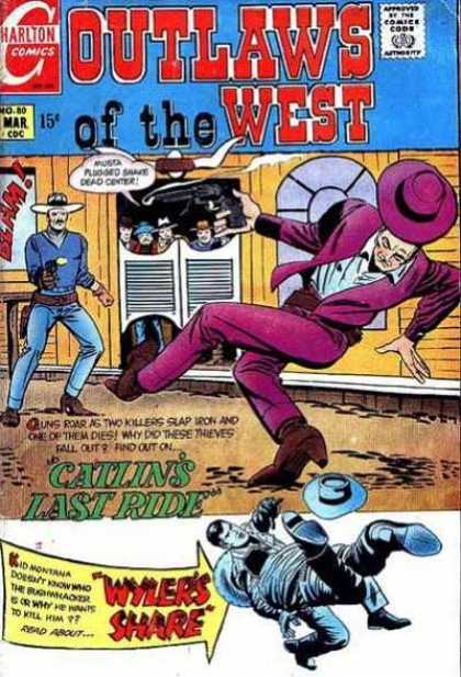 Outlaws of the West 80 - Charlton Comics - No 80 - Outlaws Of The West - Catlins Last Ride - Wylers Share