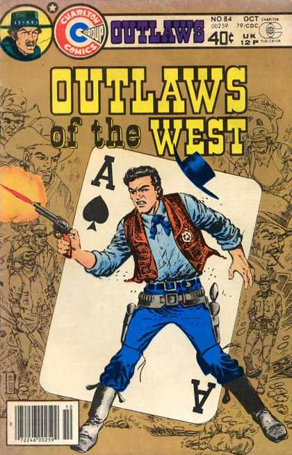 Outlaws of the West 84 - Ace - Card - Cowboy - Gun - Badge