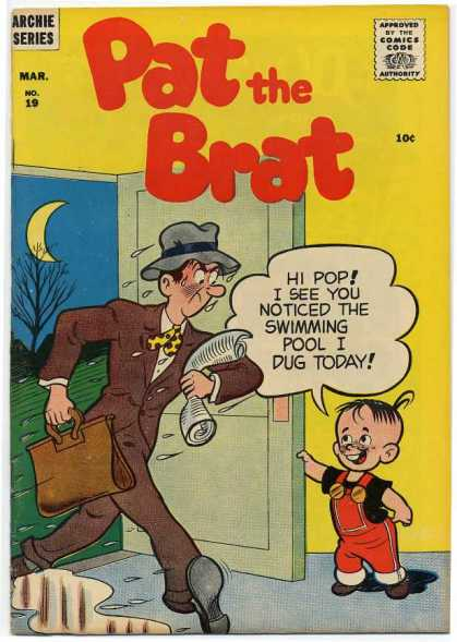 Pat the Brat 19 - Speech Bubble - Archie - Wet Clothes - Dad - Kid