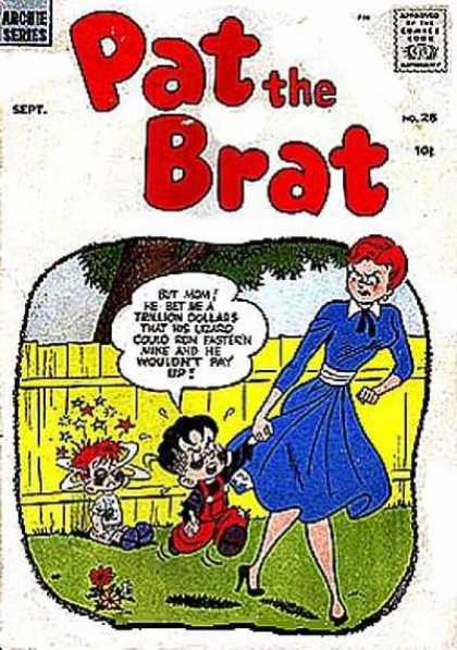 Pat the Brat 28 - Yellow Fence - Red Hair - Stars - Blue Dress - Overalls