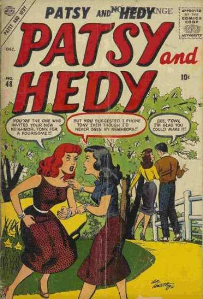 Patsy and Hedy 48 - Comics Code - Woman - Man - Tree - Road