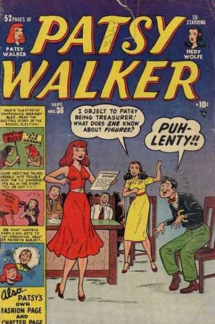 Patsy Walker 36 - Hedy Wolfe - Treasurer - Vote For Gerard - Red Dress - Fashion Page