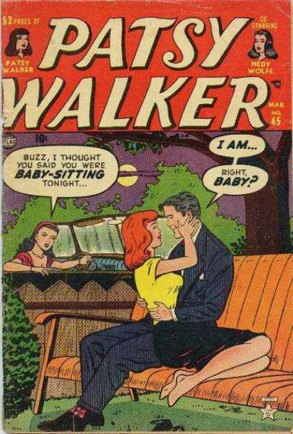 Patsy Walker 45 - March Issue - Cheating Man - Park Bench - Buxxom Red Head - Jilted Lover