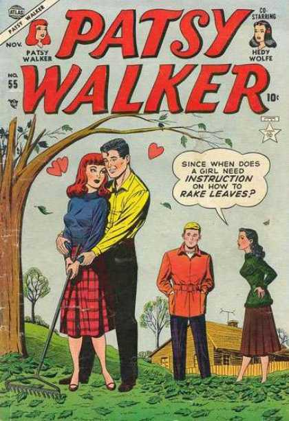 Patsy Walker 55 - Love - Rake Leaves - Tree - Romance - Girl