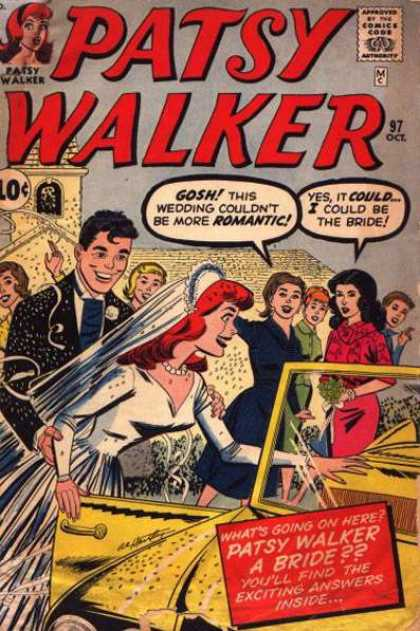 Patsy Walker 97 - Gold Car - Wedding - Bride - Groom - Church