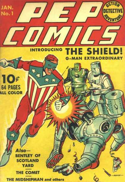 Pep Comics 1 - The Shield - Jan No 1 - Detective - G Man - Scarlet Yard