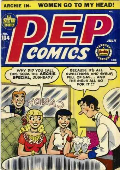 Pep Comics 104 - Archie - Jughead - Gold Braclet - Soda Pop - White Shirt