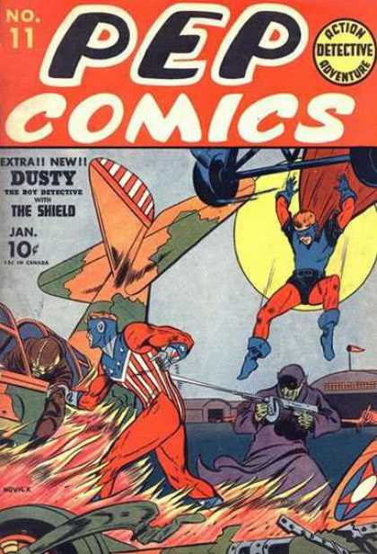 Pep Comics 11 - Superheros - Moon - Fire - Plane - Building