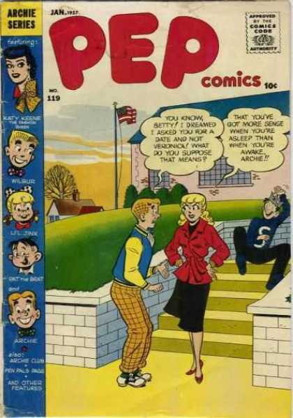 Pep Comics 119 - Approved By The Comics Code - Woman - Archie Series - Man - Flag