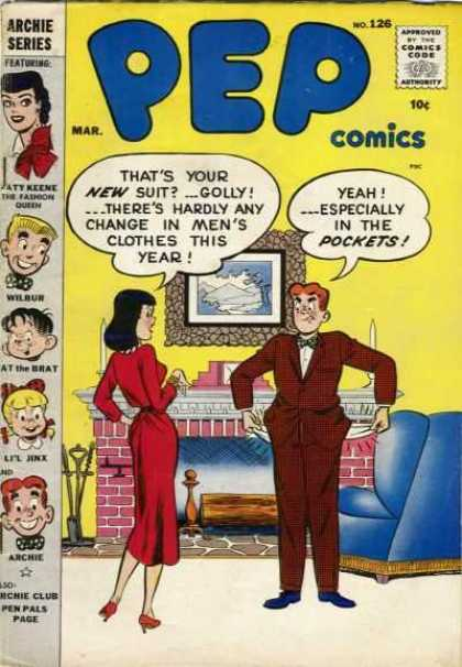 Pep Comics 126 - Archie - Veronica - Living Room - Suite - Fire Place