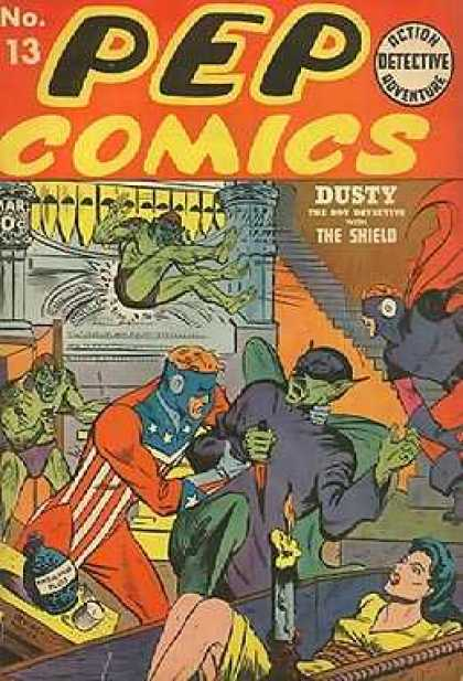 Pep Comics 13 - Action Adventure - Detective - Dusty - Knife - The Shield