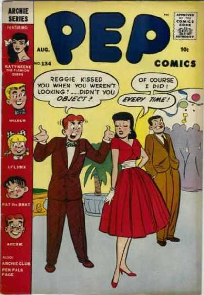 Pep Comics 134 - Archie - Reggie Kissed You - Didnt You Object - Pat The Brat - Pen Pals Page
