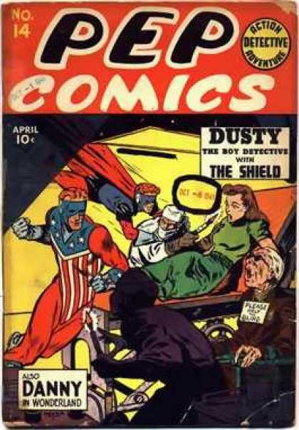 Pep Comics 14 - Danny In Wonderland - Dusty The Boy Detective - The Shield - Super Heroes - Flying